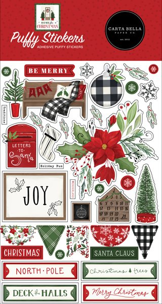 Home For Christmas Puffy Stickers-
