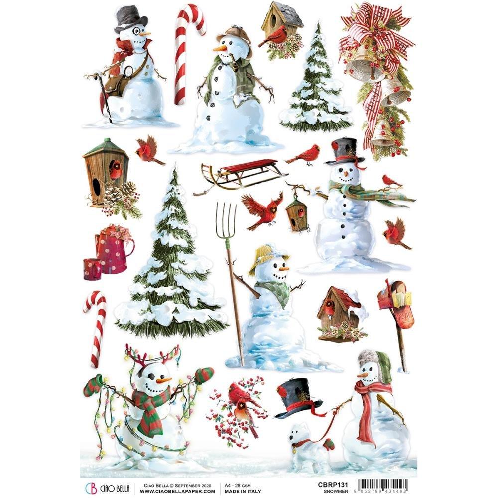 Ciao Bella Rice Paper Sheet A4 5/Pkg-Snowmen, Northern Lights