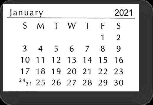 MINI BLACK/WHITE CALENDAR 2021