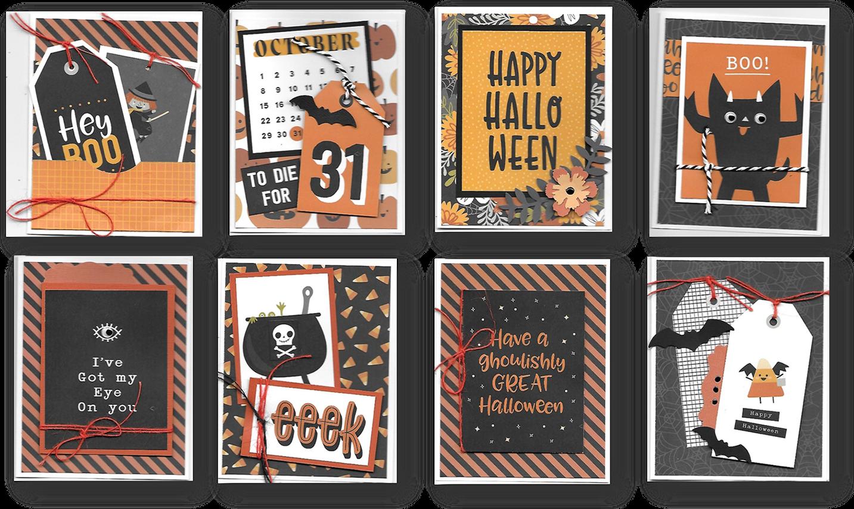 Spoooky Halloween Cards Kit - Makes 8 cards