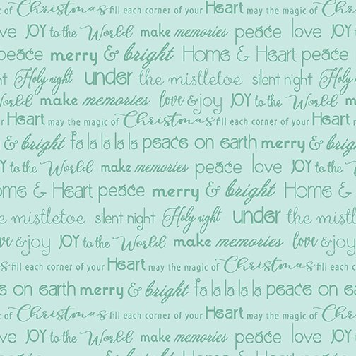 Merry & Bright Words lt Teal
