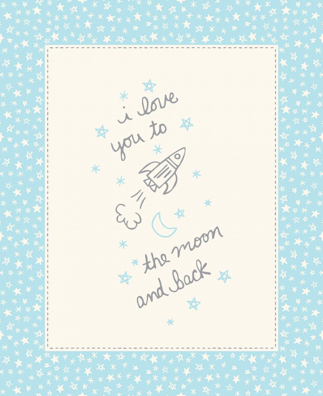 I love U Moon Blue Panel
