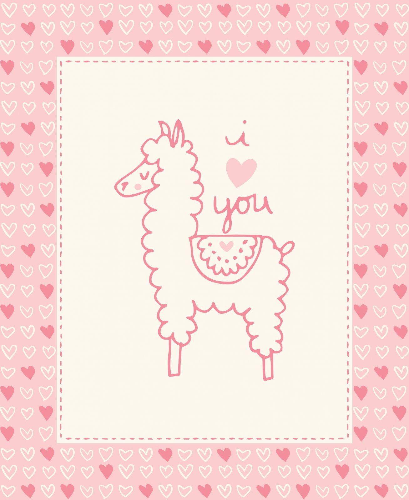 I love U Llama Pink Panel