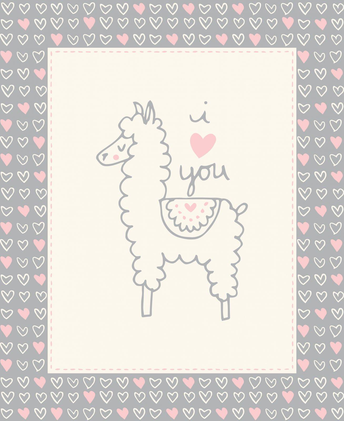 I love U Llama Grey Panel