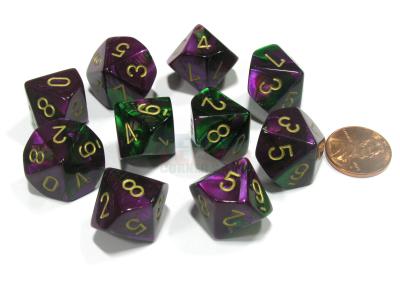 10d10 Gemi: Green-Purple/Gold