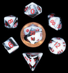 7 Die Mini: Marble with Red