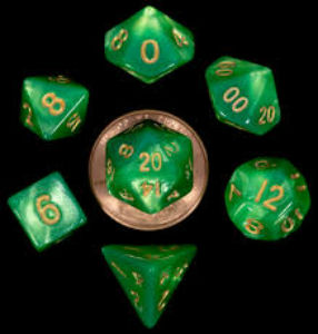 7 Die Mini: Green/Light Green with Gold