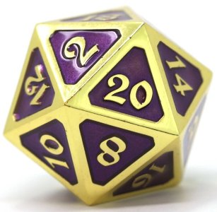 Dire d20 - Gold Amethyst Mythica