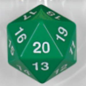 Jumbo Green/White 55mm Countdown d20