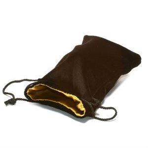 Dice Bag: Large Gold Satin Black Velvet Lined