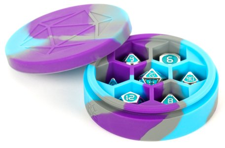 Purple/Grey/Light Blue Silicone Round Dice Case