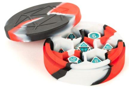 Red/Black/White Silicone Round Dice Case