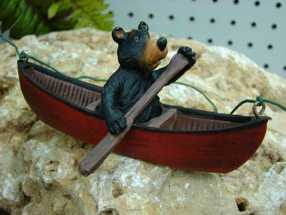 Black Bear Canoe Ornament