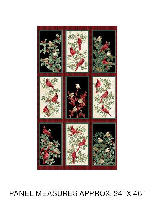 Winter Elegance Birds Panel