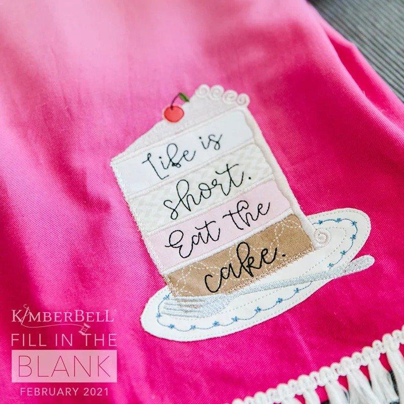 Kimberbell FITB Ombre Tea Towel Set Pink & Lime - February