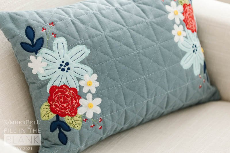 Kimberbell FITB Quilted Pillow Cover - July