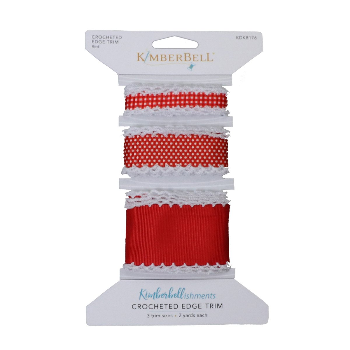 Kimberbell Crocheted Edge Ribbon - Red
