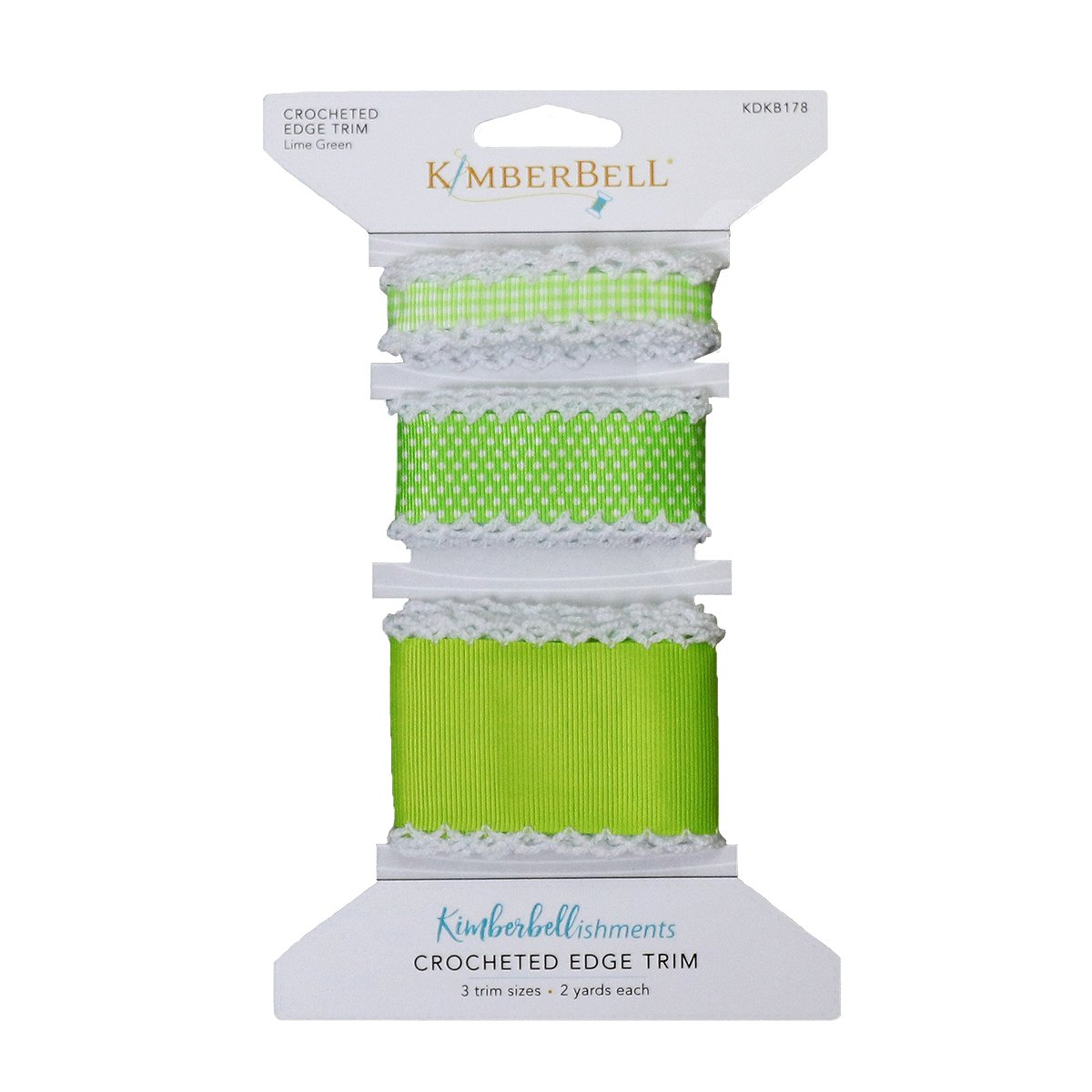 Kimberbell Crocheted Edge Ribbon - Lime Green