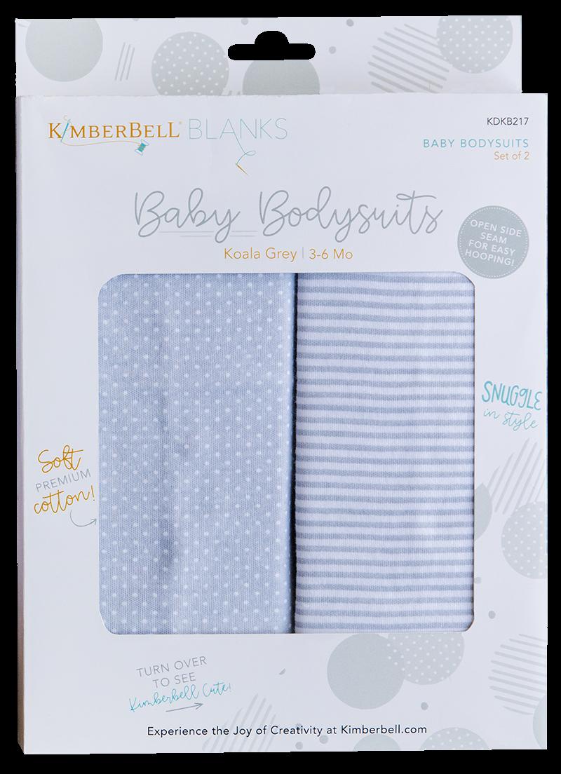 Kimberbell Baby Bodysuits - Koala Grey 3-6 Months - Pack of 2