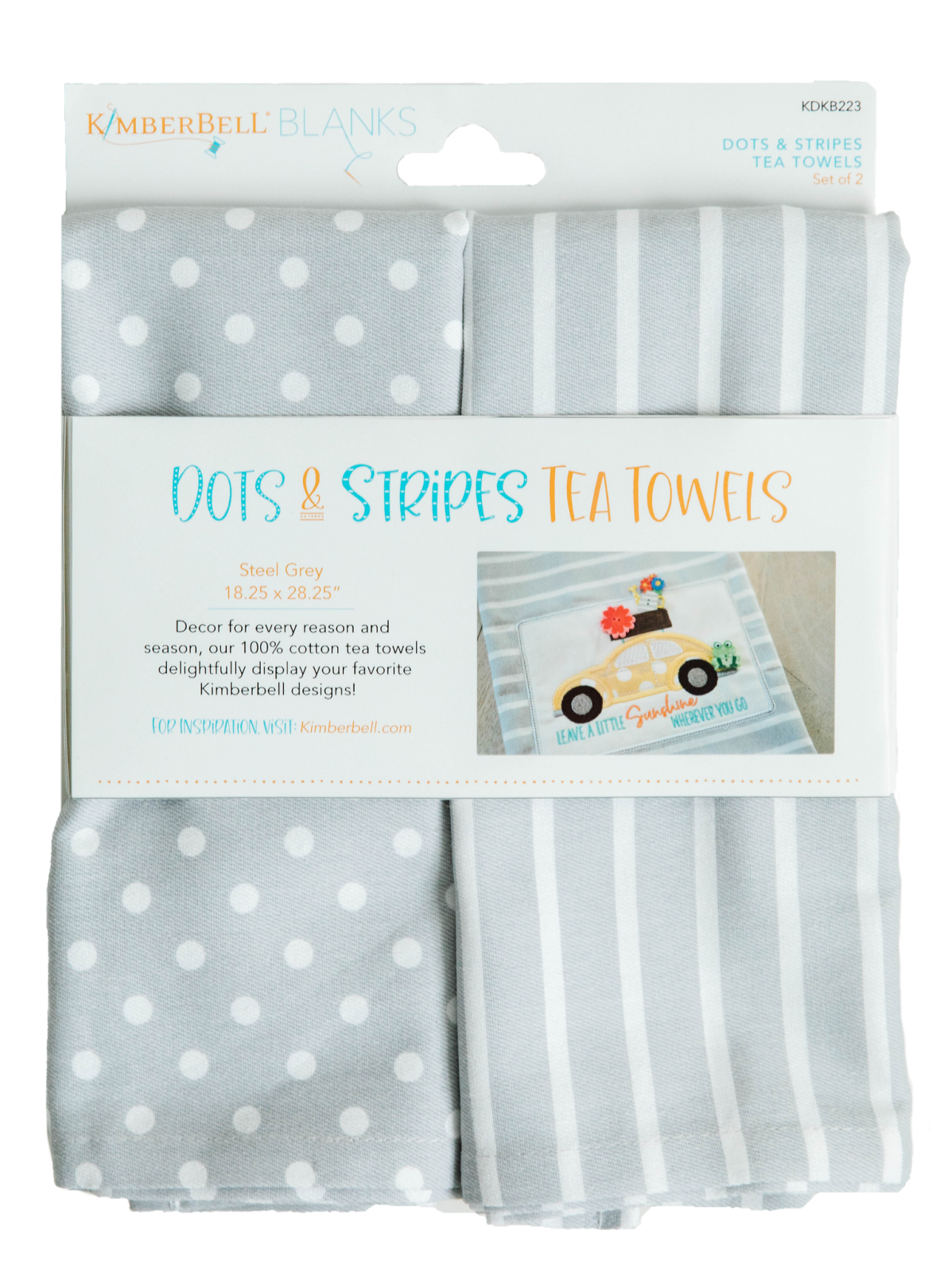 Kimberbell Dots & Stripes Tea Towels 2 pk - Steel Grey