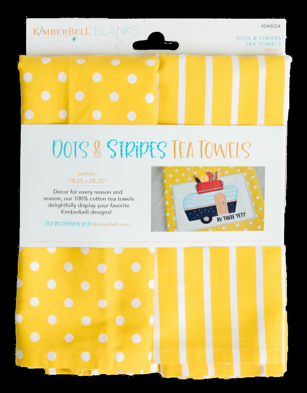 Kimberbell Dots & Stripes Tea Towels 2 pk - Lemon