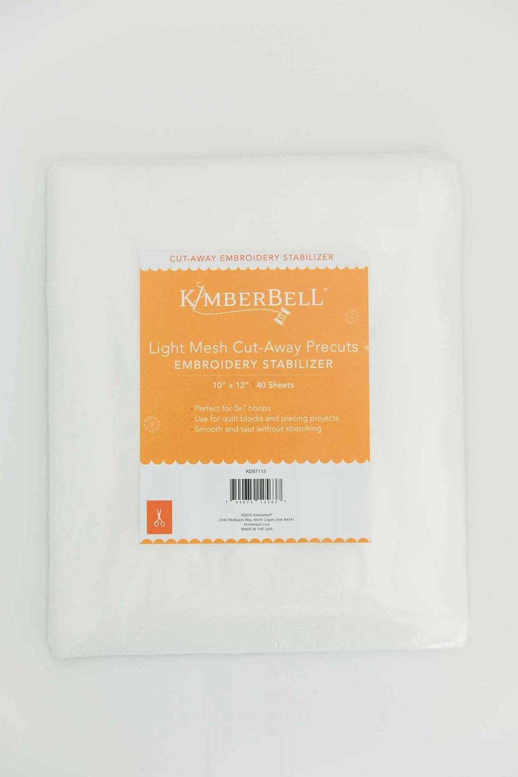 Kimberbell Stabilizer -  Light Mesh Cut-Away 10x12  Precut 40ct