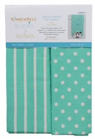 Kimberbell Dots & Stripes Tea Towels 2 pk - Aqua