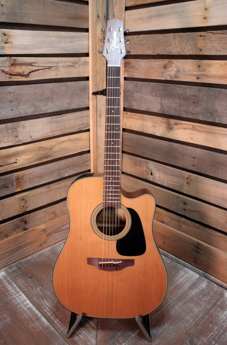 Takamine P1DC Solid Cedar Top Acoustic/Electric Dreadnought Guitar with Hardshell Case