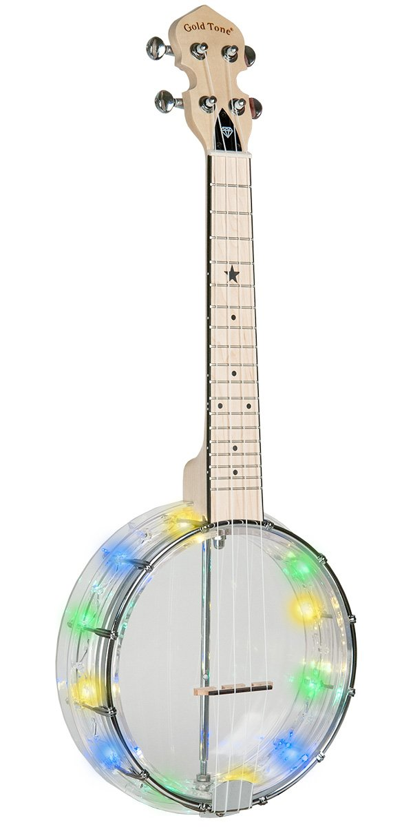 Gold Tone Little Gem Diamond See-Through Banjo-Ukulele with LED Lights