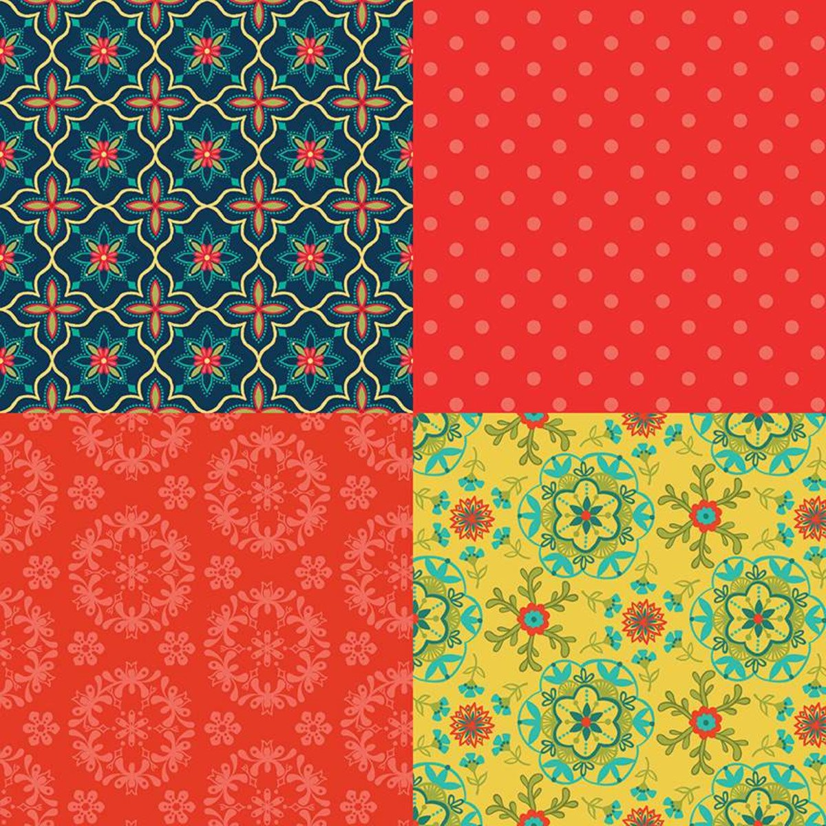 4 Fat Quarter Panel Red - Wildflower Bouquet