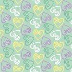 Retro Charm Green Hearts