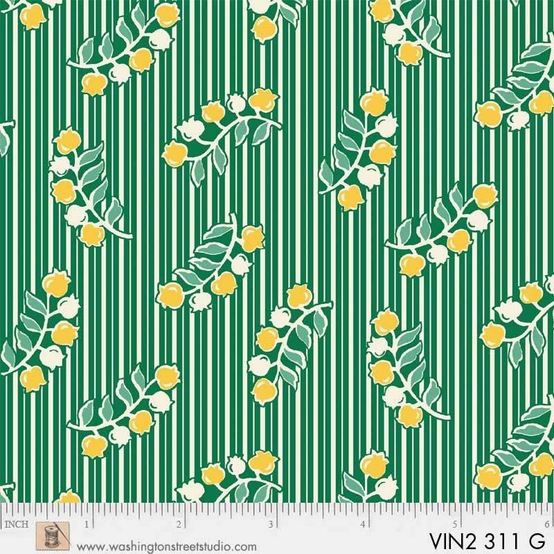 Vintage 30's Flower /Kelly Stripe