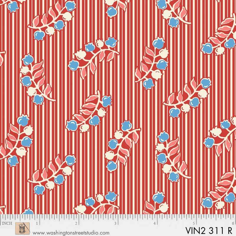 Vintage 30's Flower / Red Stripe