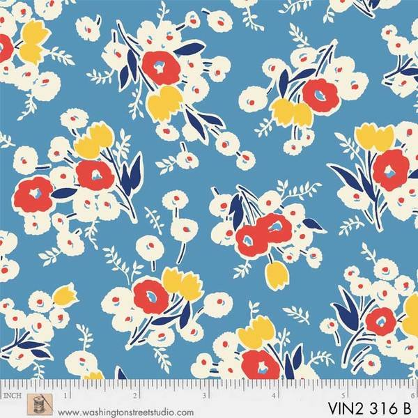 Vintage 30's Blue /  White Large Flowers
