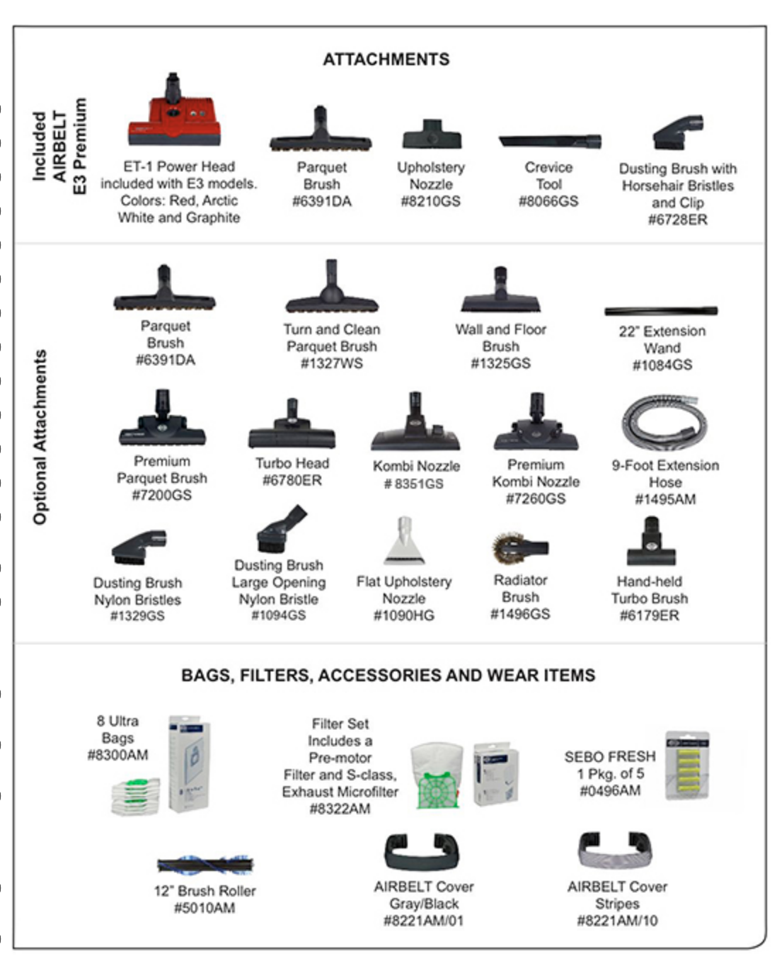 sebo optional attachments at Nashua Sew And Vac
