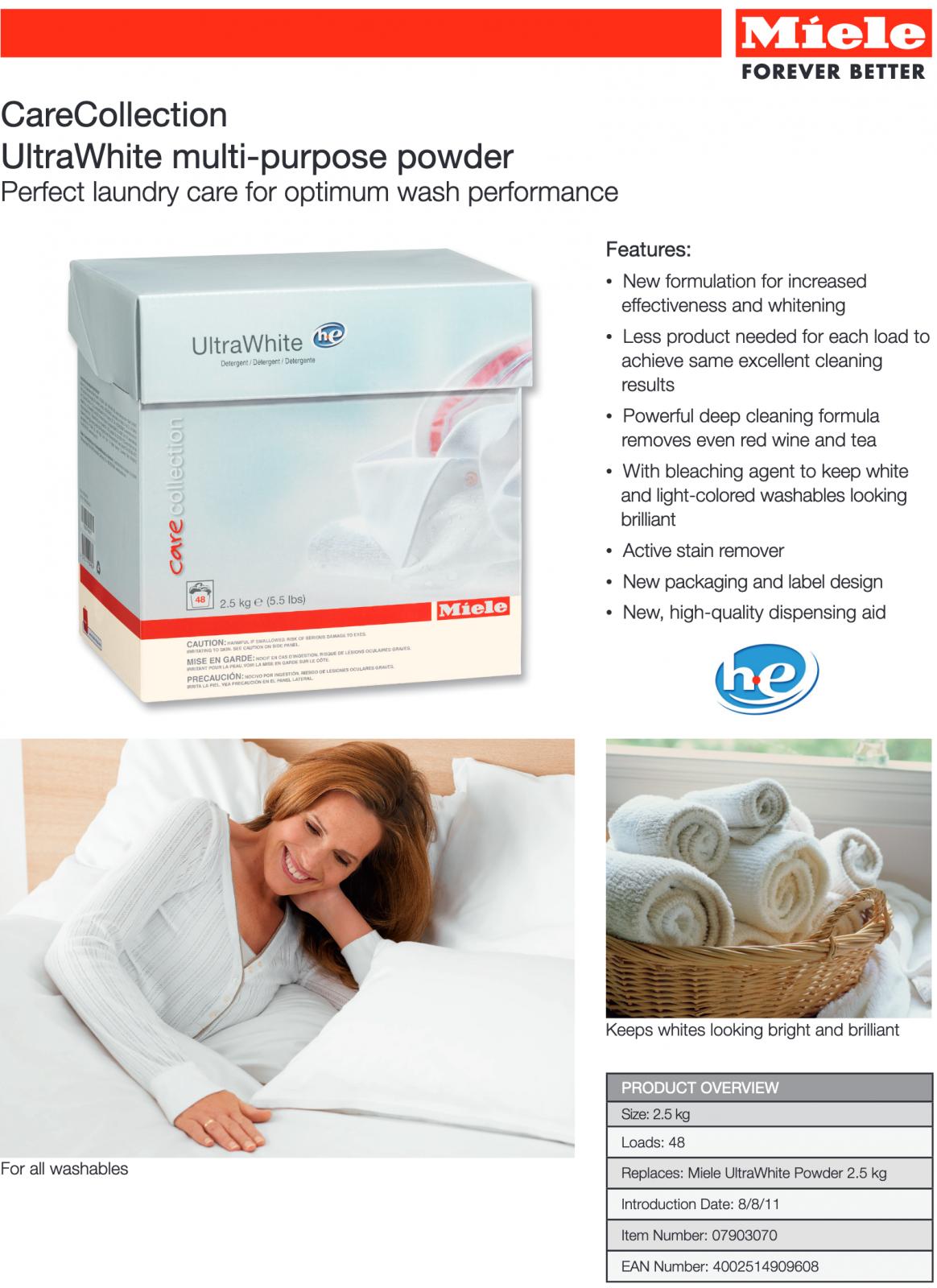 CareCollection UltraWhite multi-purpose powderPerfect laundry care for optimum wash performance
