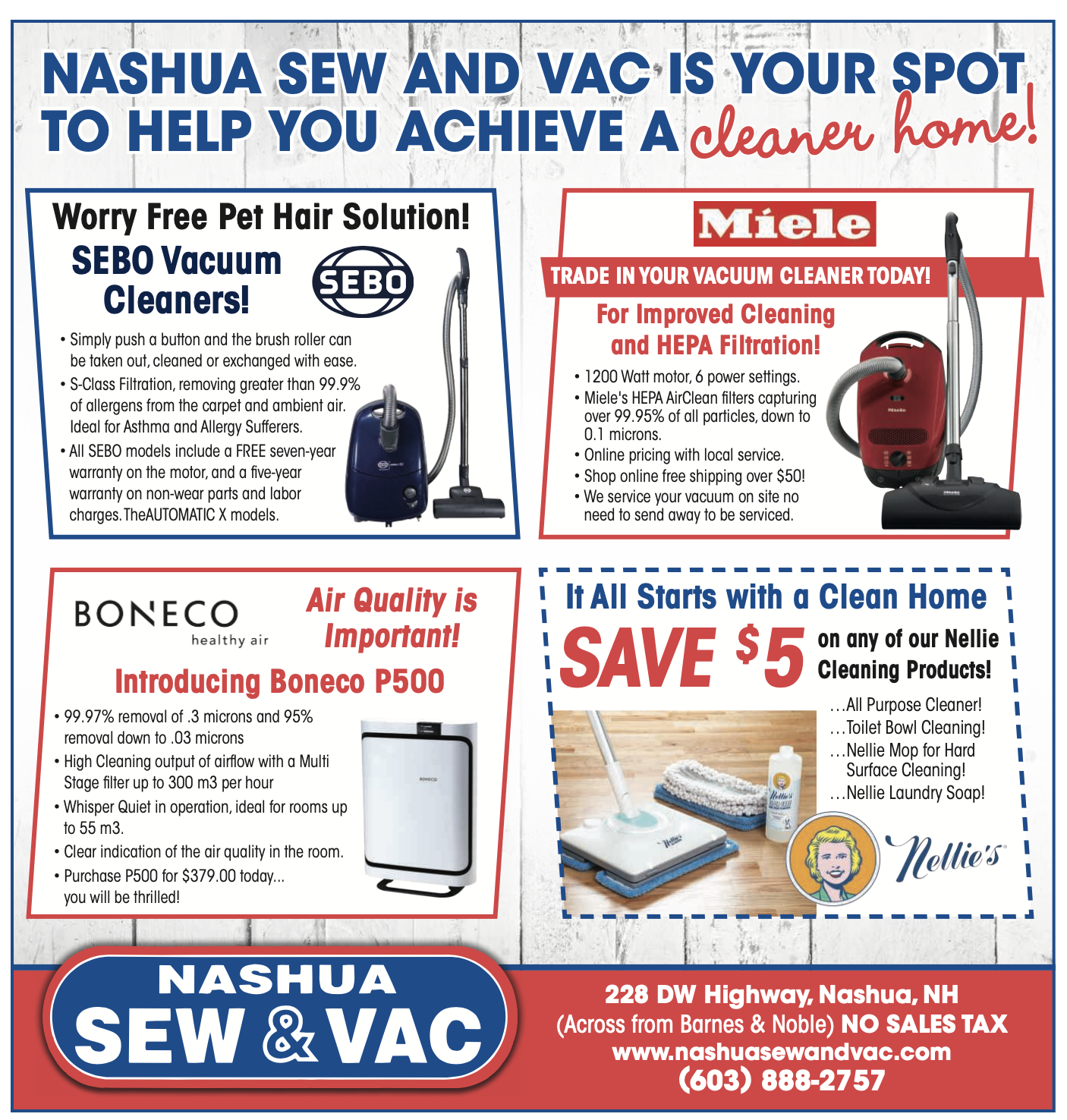 Nashua sew and vac spectrum monthly June ad