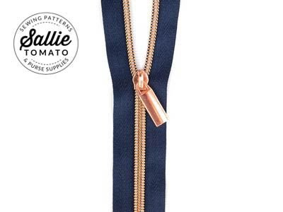 #5 Zippers by the Yd Navy Tape Copper
