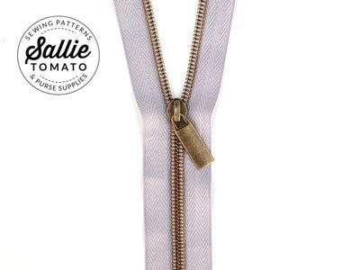 #5 Zippers by the Yd Grey tape Antique Gold Zip