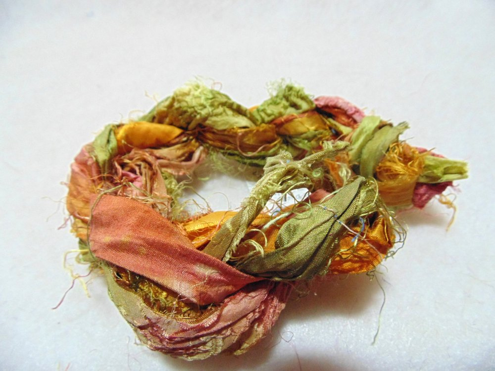 Fall Leaves Hand-Dyed Sari Silk 3yds