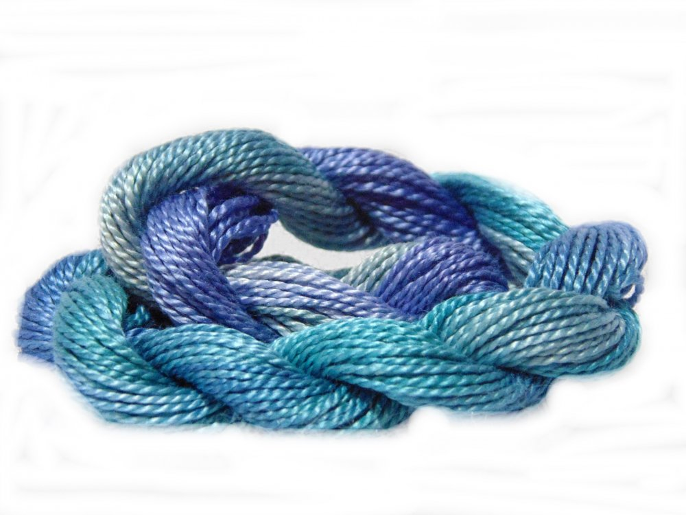 Stormy Seas- Hand-dyed Perle Cotton Sz12   20yds