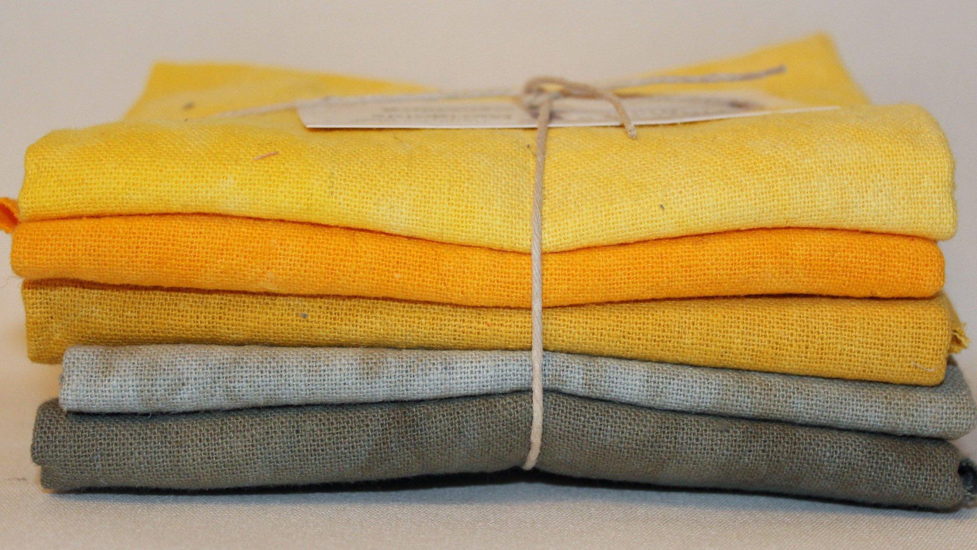 Marigolds Hand-dyed Osnaburg Fat Quarter 5pc Set