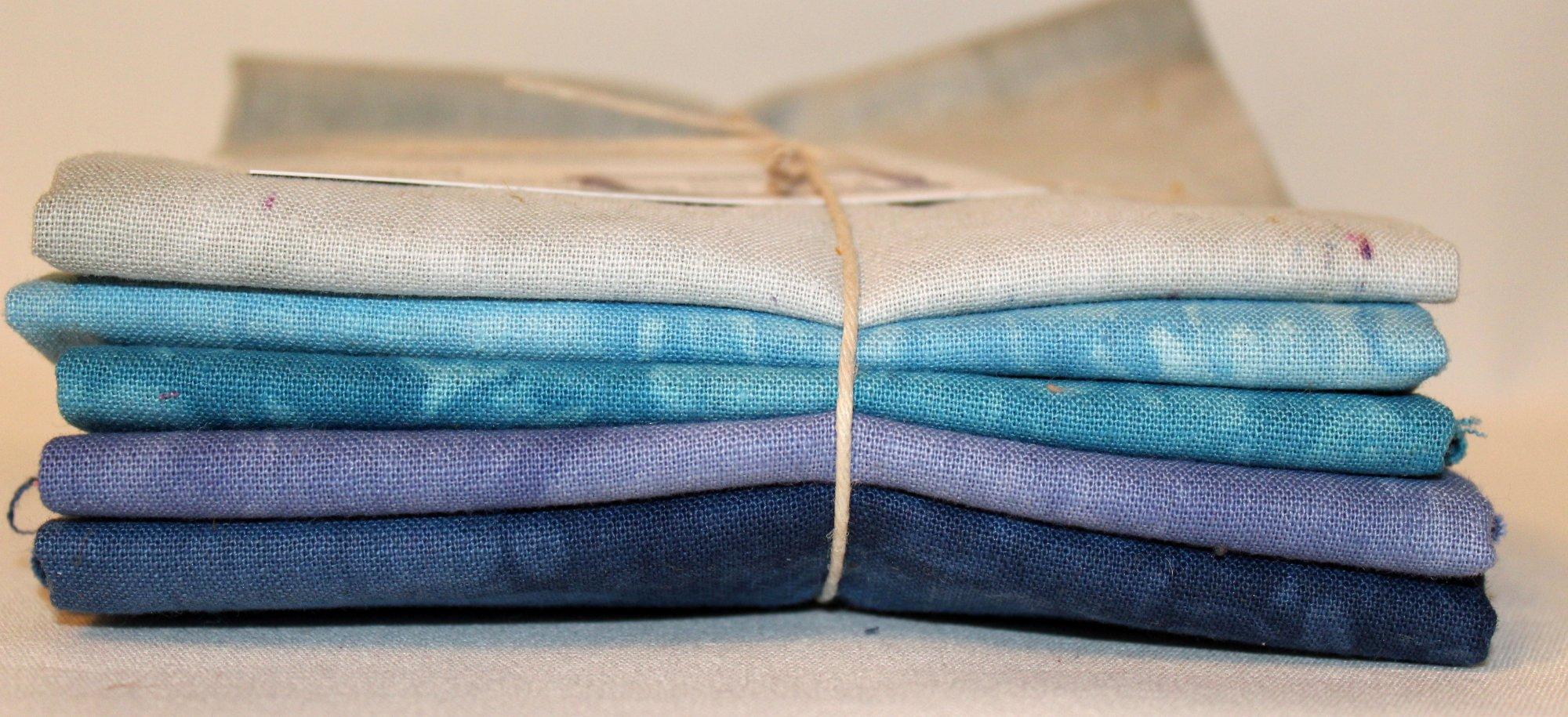 Ocean Waves Hand-dyed Linen Fat Quarter 5pc Set