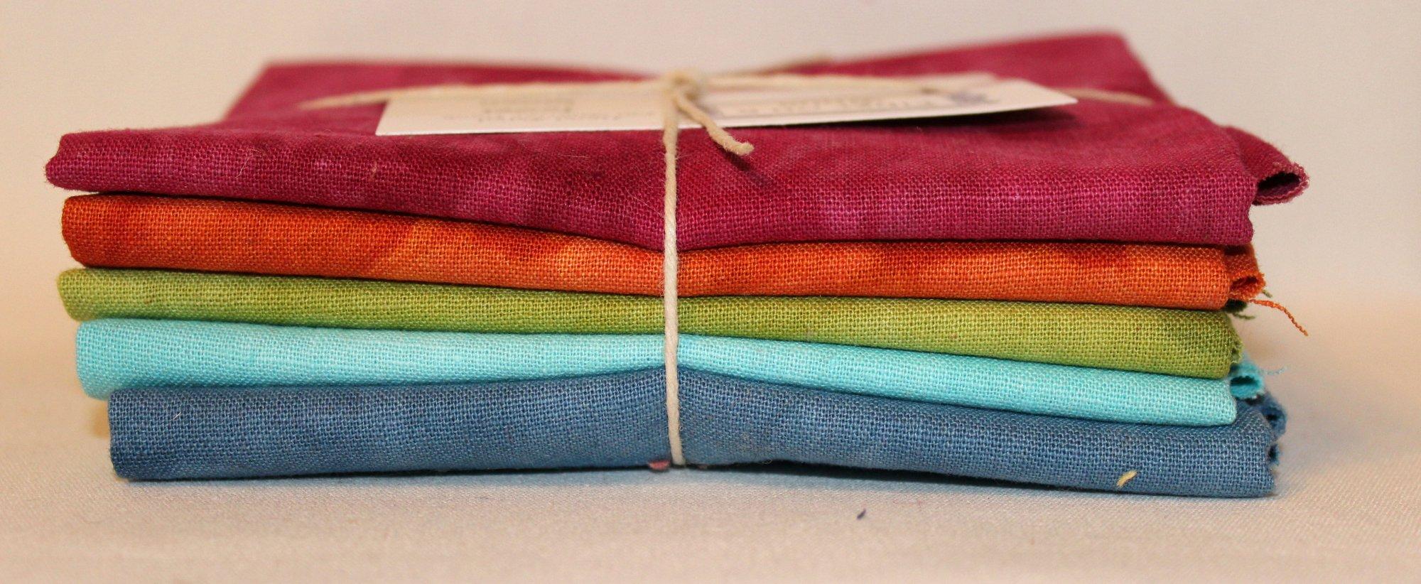 Jewel Hand-dyed Linen Fat Quarter 5pc Set