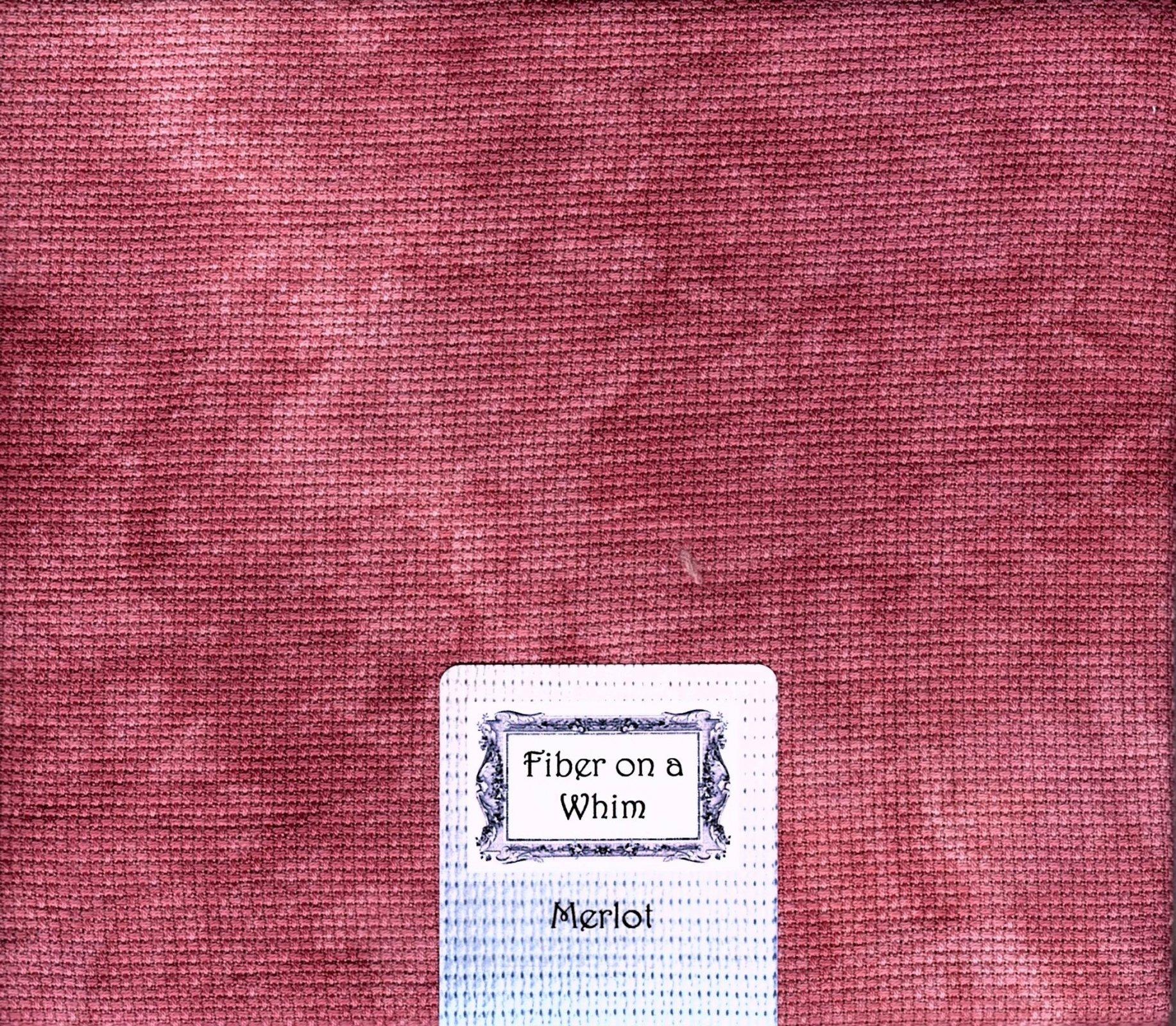 Merlot Hand-dyed 14ct Aida Cotton Fat Quarter 18 x 28