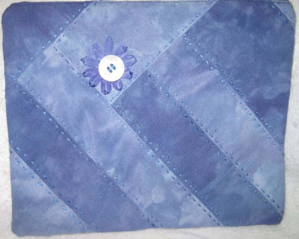 Blueberry Osnaburg Zippered Pouch