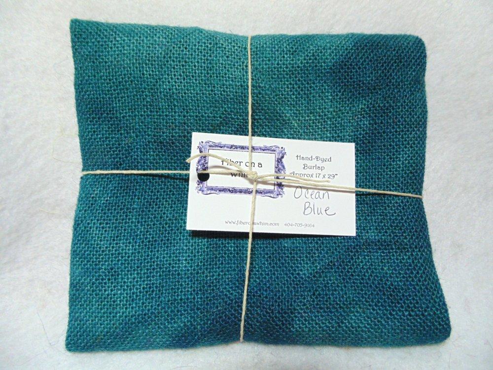 Ocean Blue Hand-Dyed Burlap