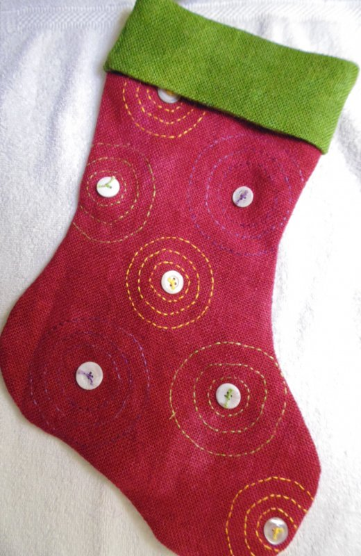 Going in Circles- Burlap Christmas Stocking