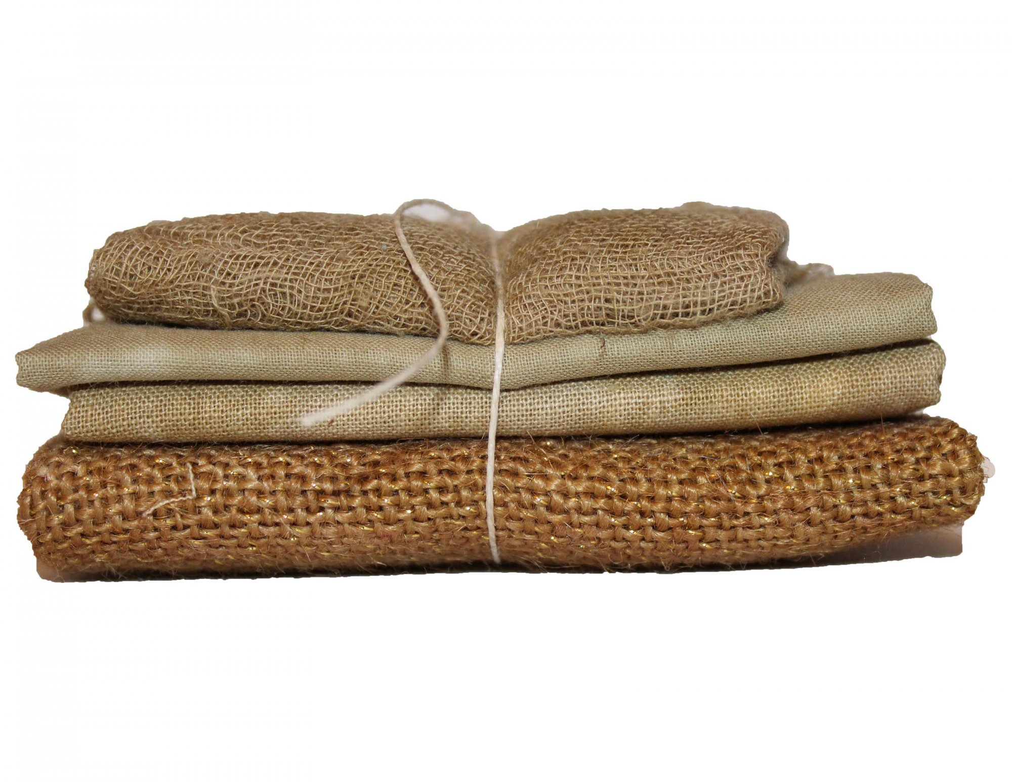 Dulce de Leche Sparkle Bindle - Cheesecloth, Organdy, Linen, & Sparkle Burlap
