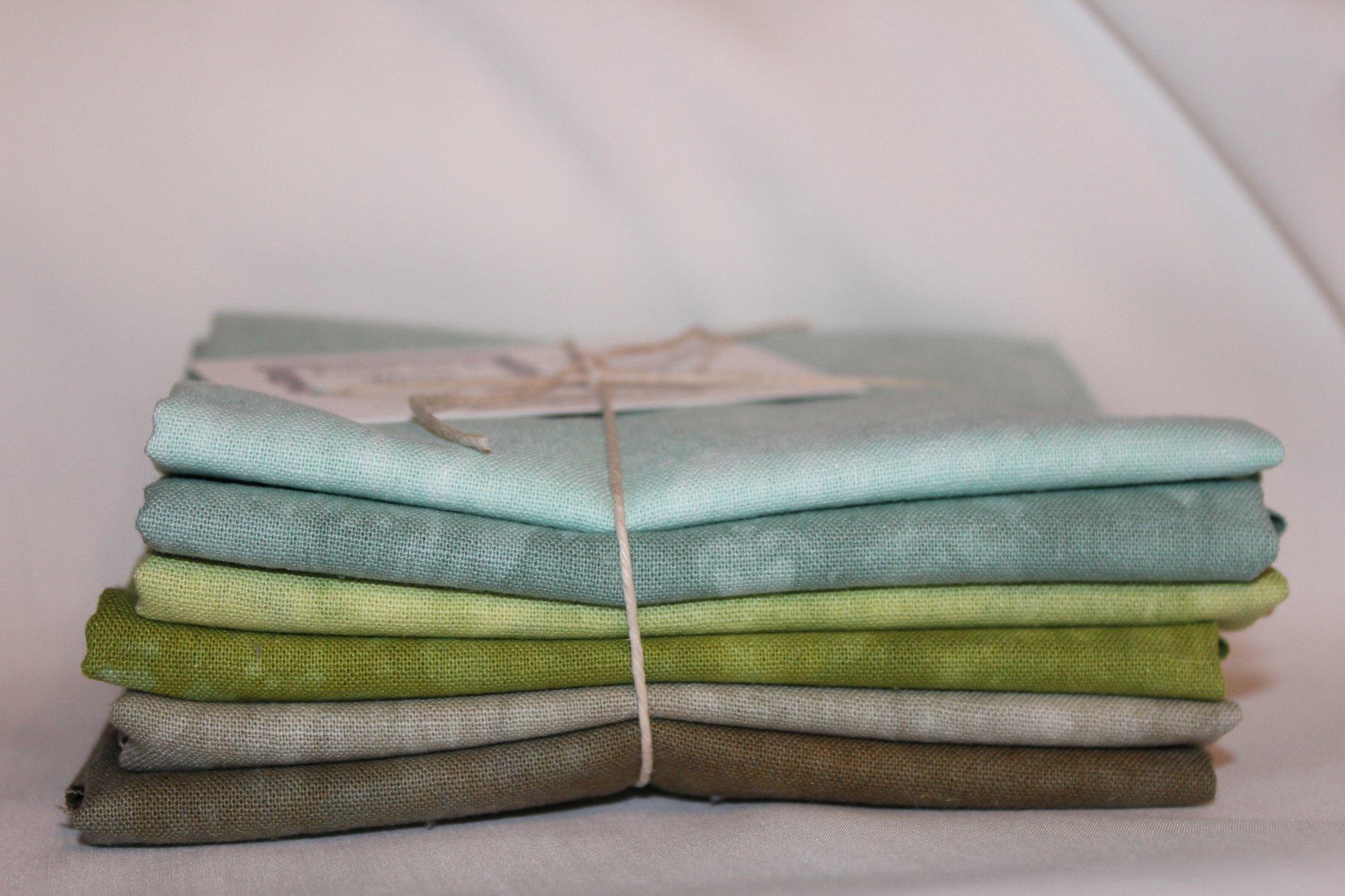 Greens Hand-dyed Linen Fat Quarter 6pc Set
